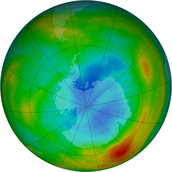 Antarctic ozone map for 27 August 1983