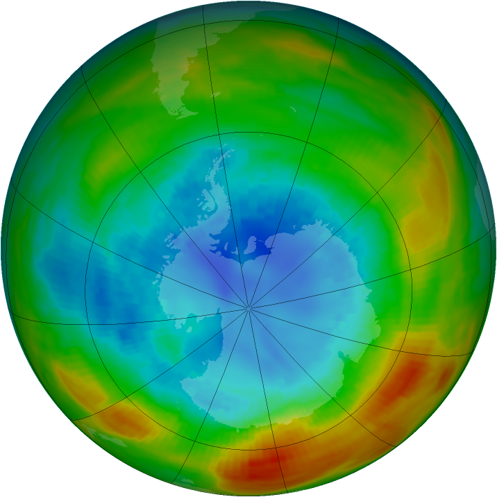 Antarctic ozone map for 02 September 1983
