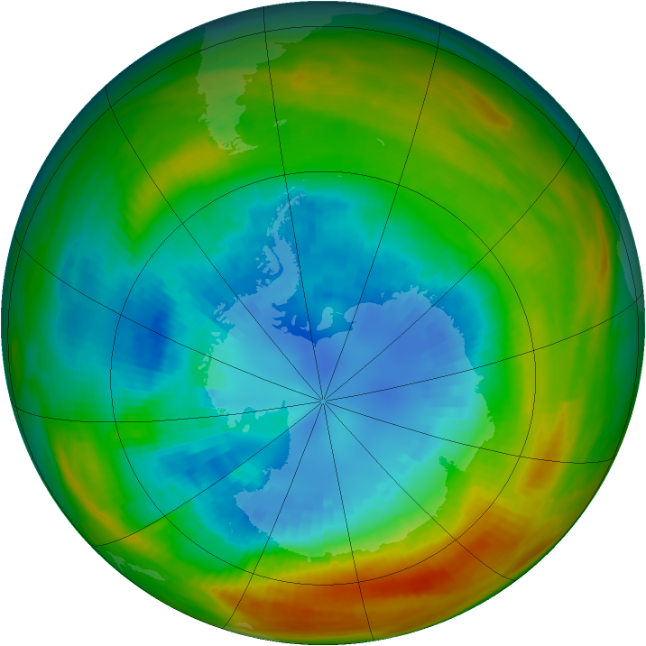 Antarctic ozone map for 03 September 1983