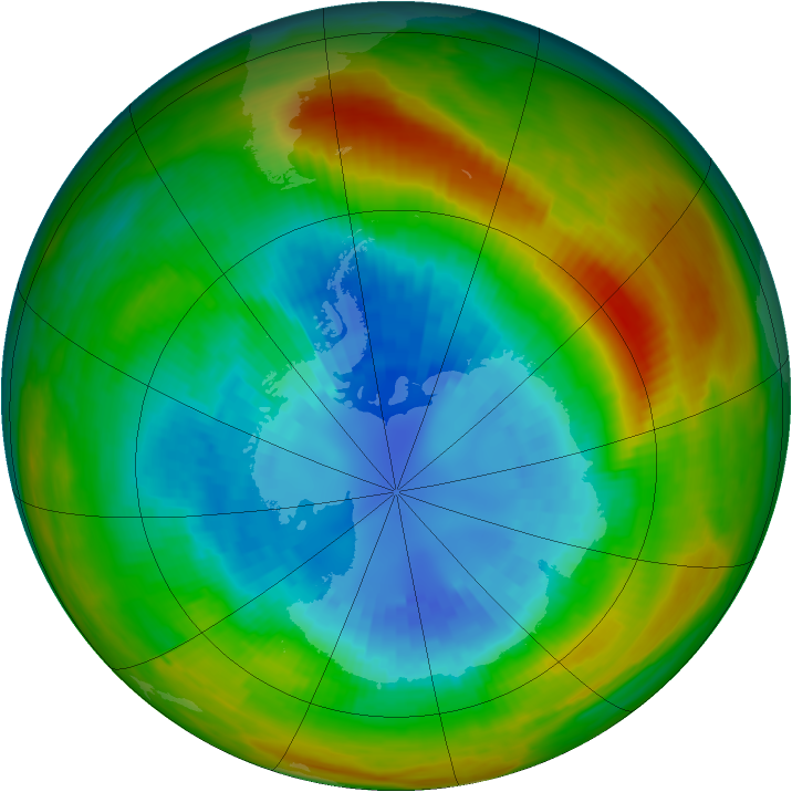 Antarctic ozone map for 06 September 1983