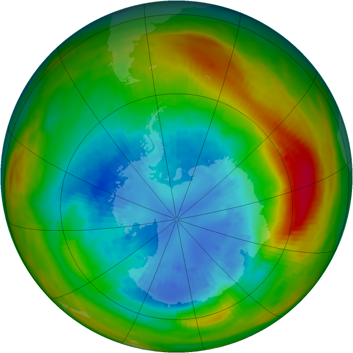 Antarctic ozone map for 08 September 1983