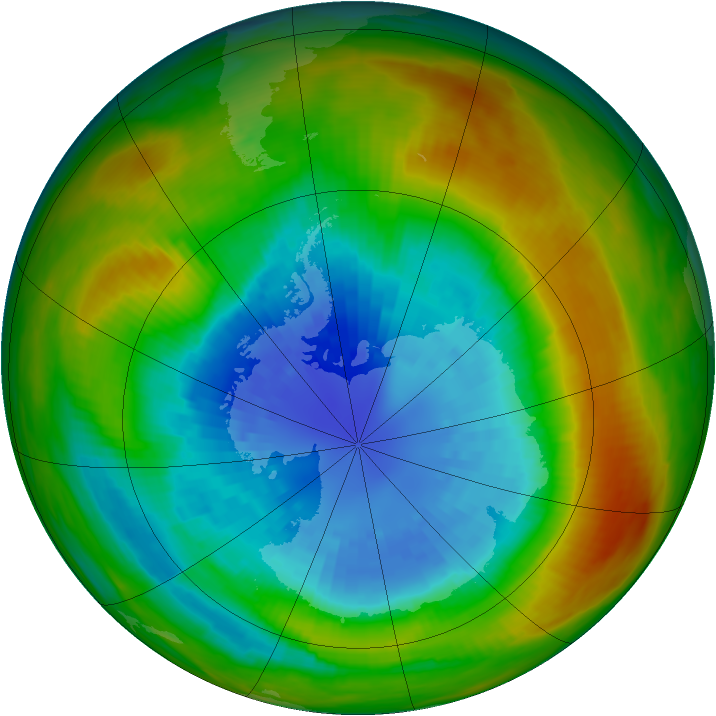 Antarctic ozone map for 11 September 1983