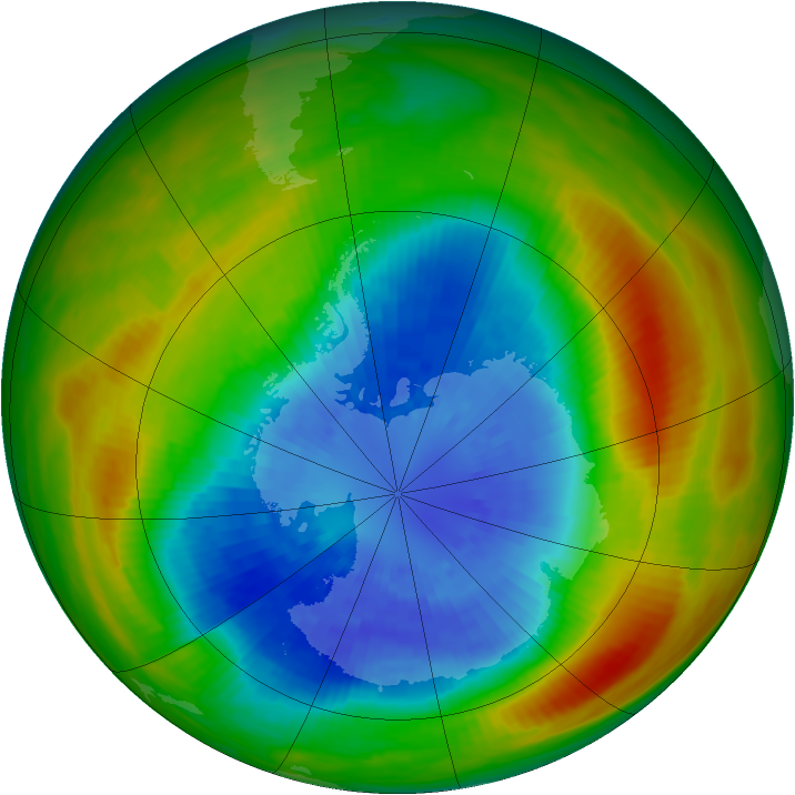 Antarctic ozone map for 17 September 1983
