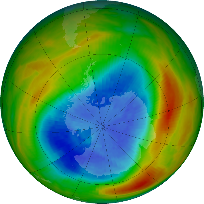 Antarctic ozone map for 18 September 1983