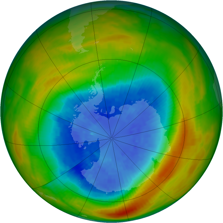 Antarctic ozone map for 19 September 1983