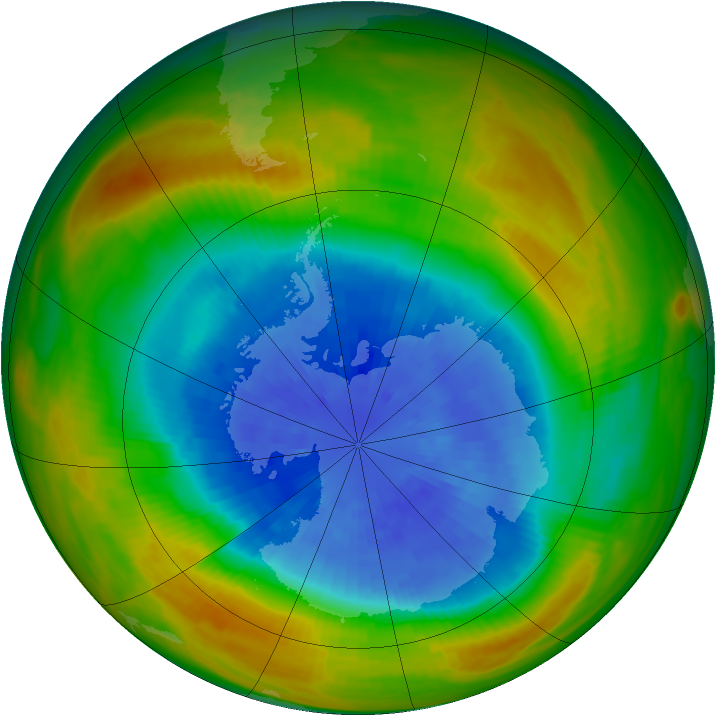 Antarctic ozone map for 23 September 1983
