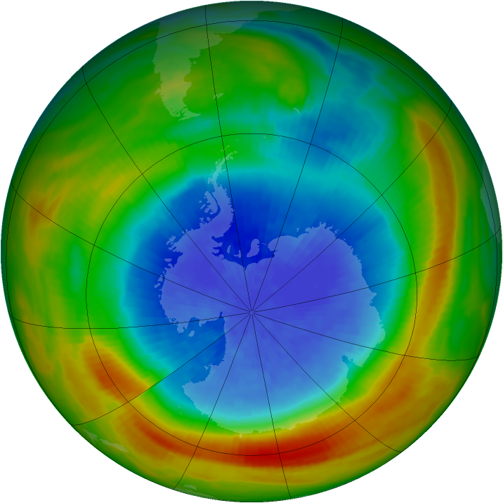 Antarctic ozone map for 30 September 1983