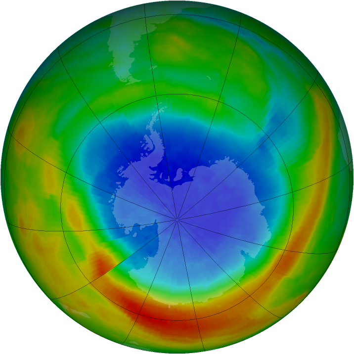 Antarctic ozone map for 01 October 1983