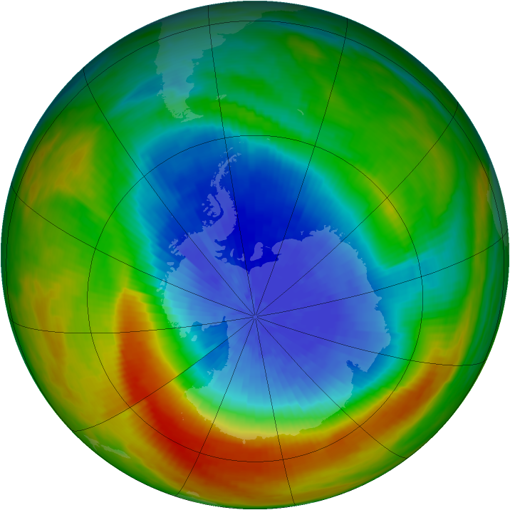 Antarctic ozone map for 02 October 1983