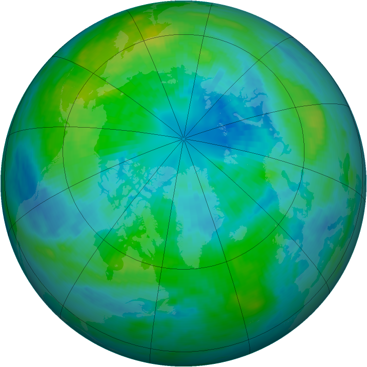 Arctic ozone map for 03 October 1983