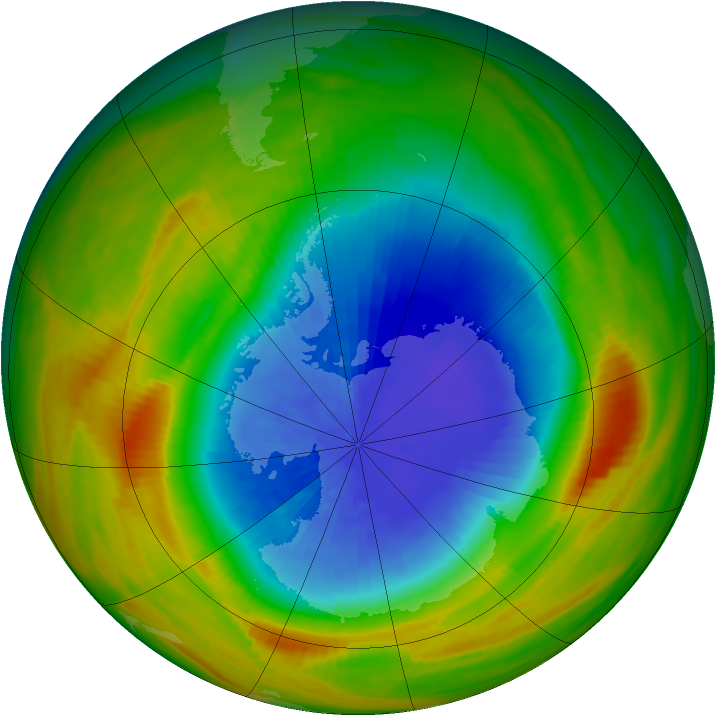 Antarctic ozone map for 06 October 1983