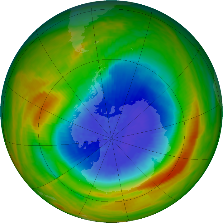 Antarctic ozone map for 07 October 1983