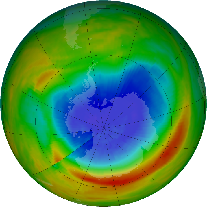 Antarctic ozone map for 08 October 1983