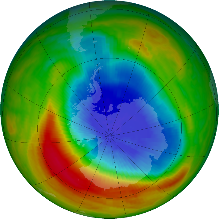 Antarctic ozone map for 11 October 1983