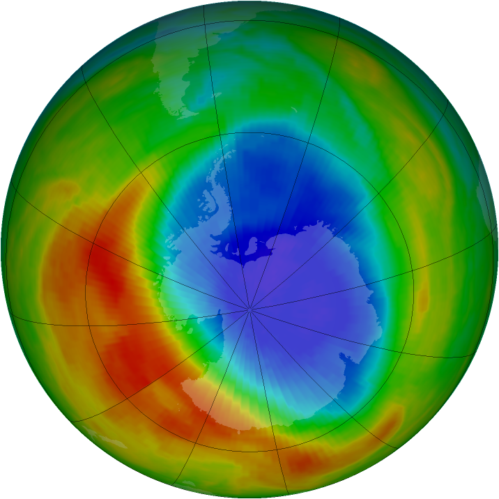 Antarctic ozone map for 13 October 1983