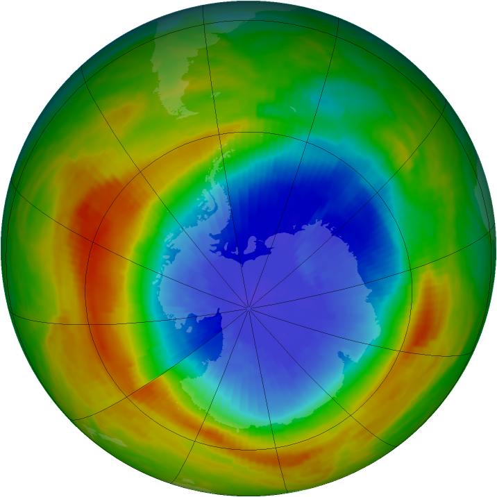Antarctic ozone map for 16 October 1983