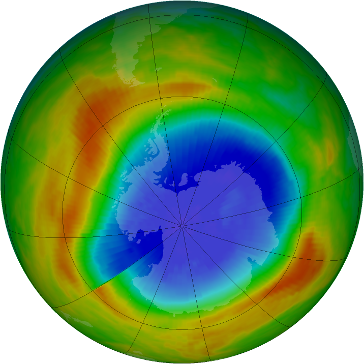 Antarctic ozone map for 17 October 1983