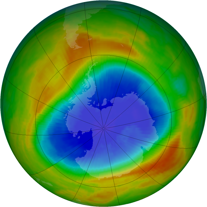 Antarctic ozone map for 18 October 1983
