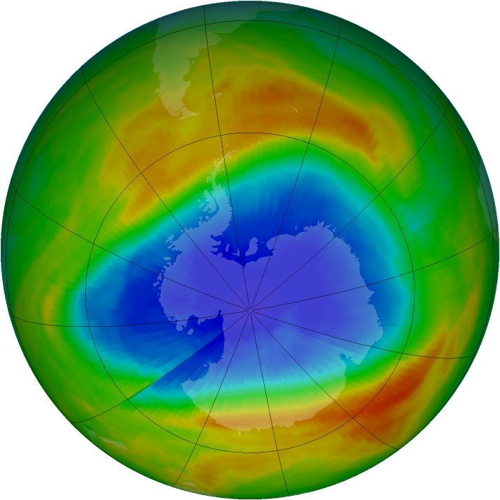 Antarctic ozone map for 19 October 1983