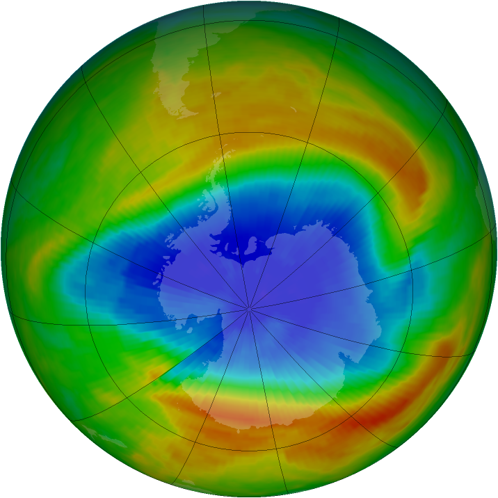 Antarctic ozone map for 20 October 1983