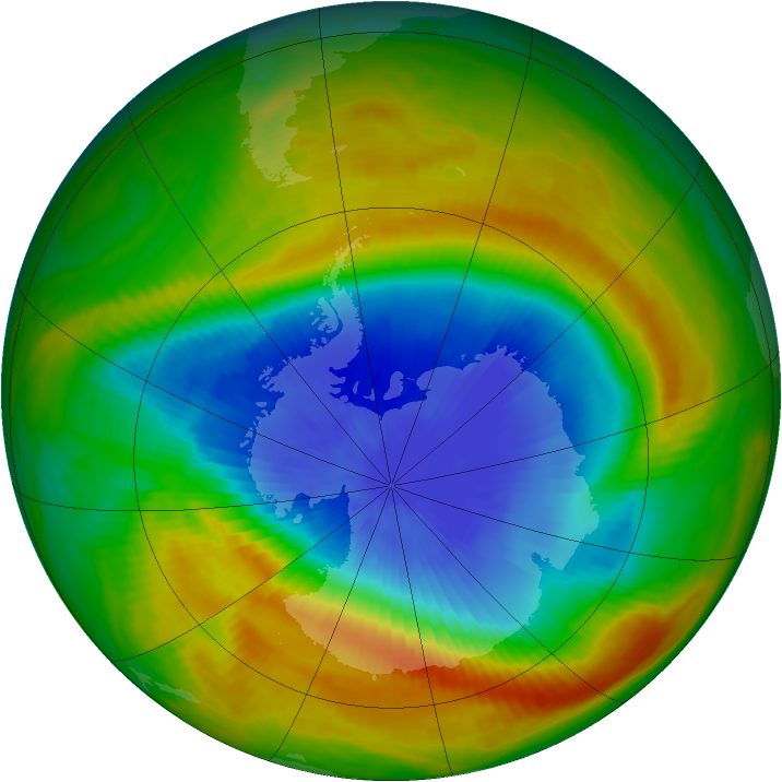 Antarctic ozone map for 21 October 1983