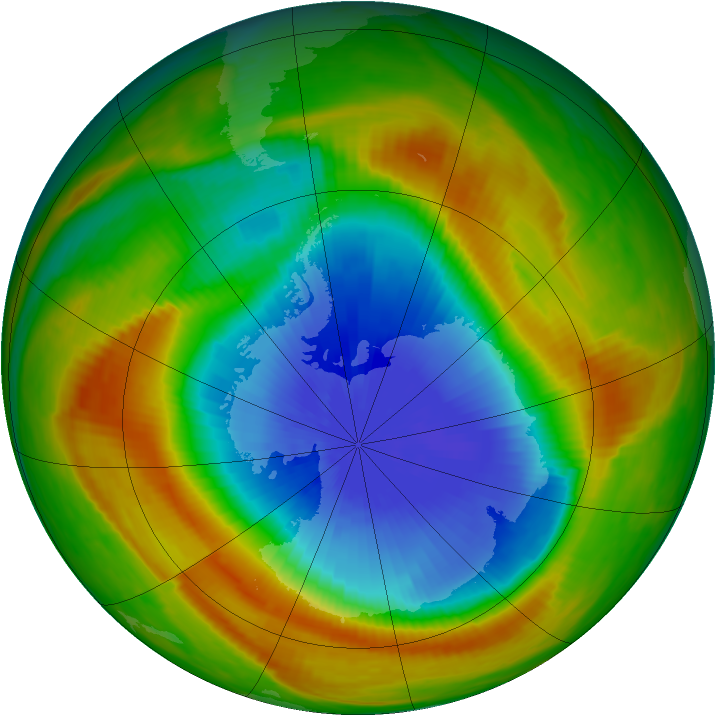Antarctic ozone map for 24 October 1983