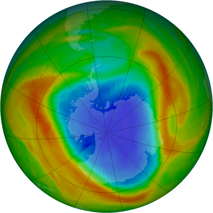 Antarctic ozone map for 25 October 1983