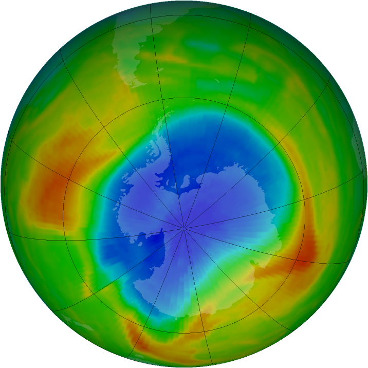 Antarctic ozone map for 27 October 1983