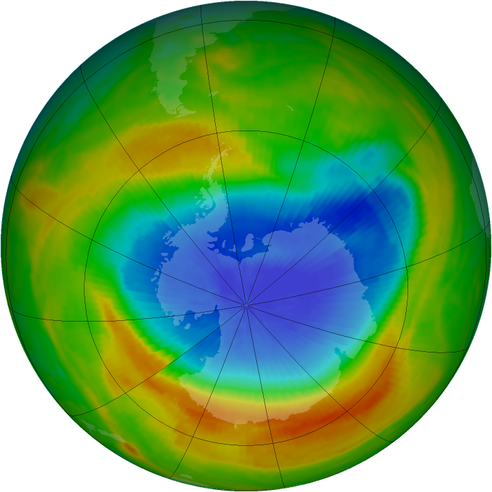Antarctic ozone map for 29 October 1983