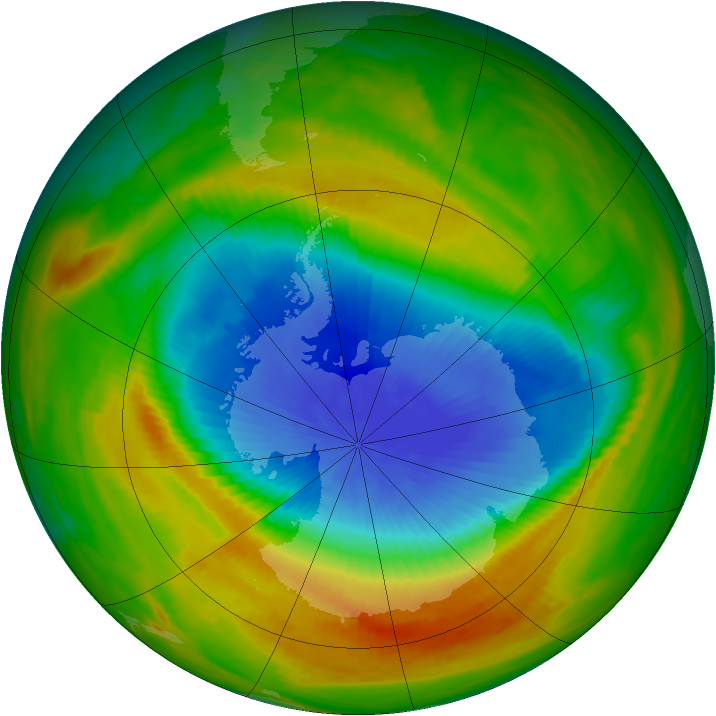 Antarctic ozone map for 30 October 1983