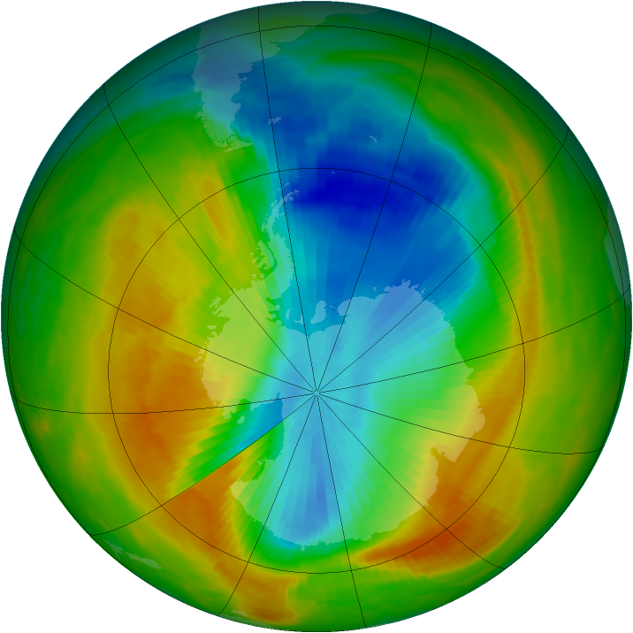 Antarctic ozone map for 03 November 1983