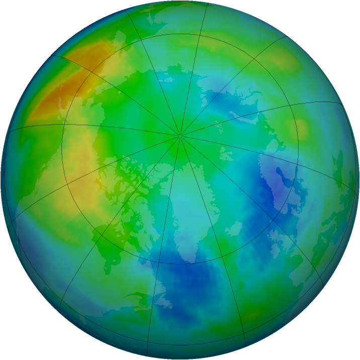 Arctic ozone map for 07 November 1983