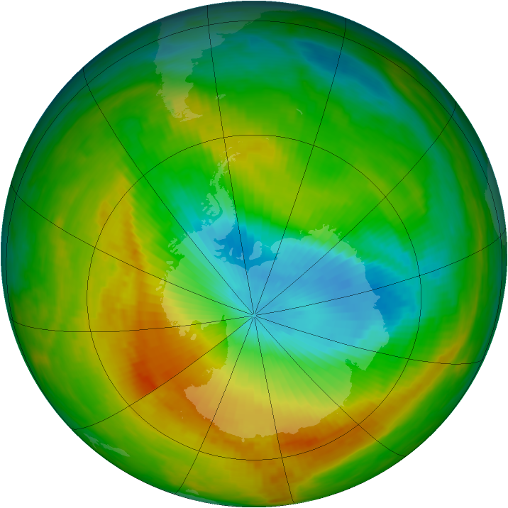 Antarctic ozone map for 07 November 1983