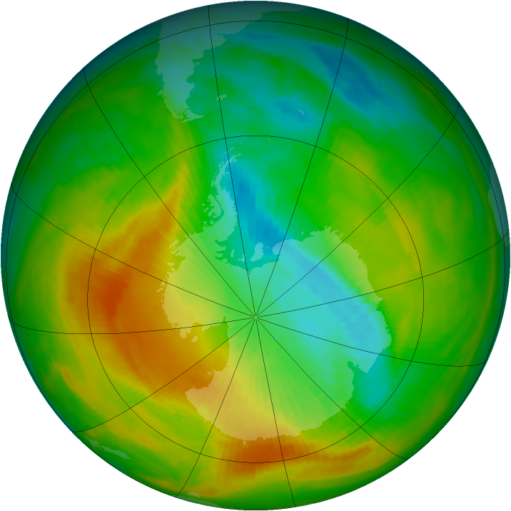 Antarctic ozone map for 09 November 1983