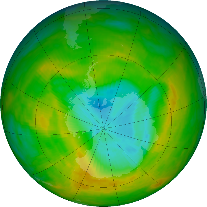 Antarctic ozone map for 18 November 1983
