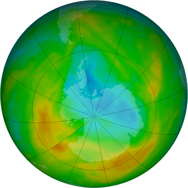 Antarctic ozone map for 21 November 1983