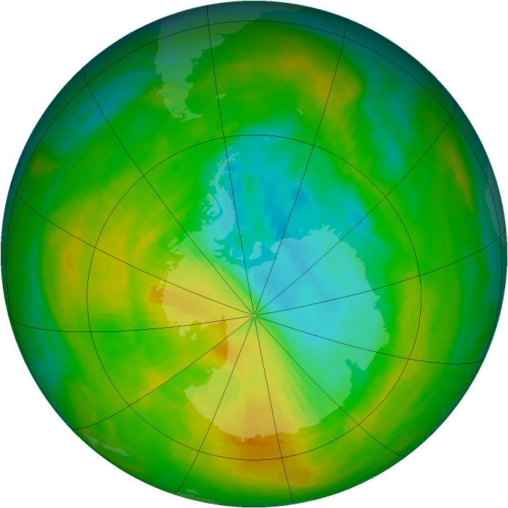 Antarctic ozone map for 23 November 1983