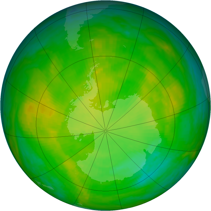 Antarctic ozone map for 30 November 1983
