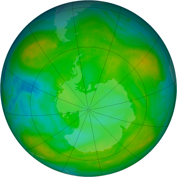 Antarctic ozone map for 24 December 1983