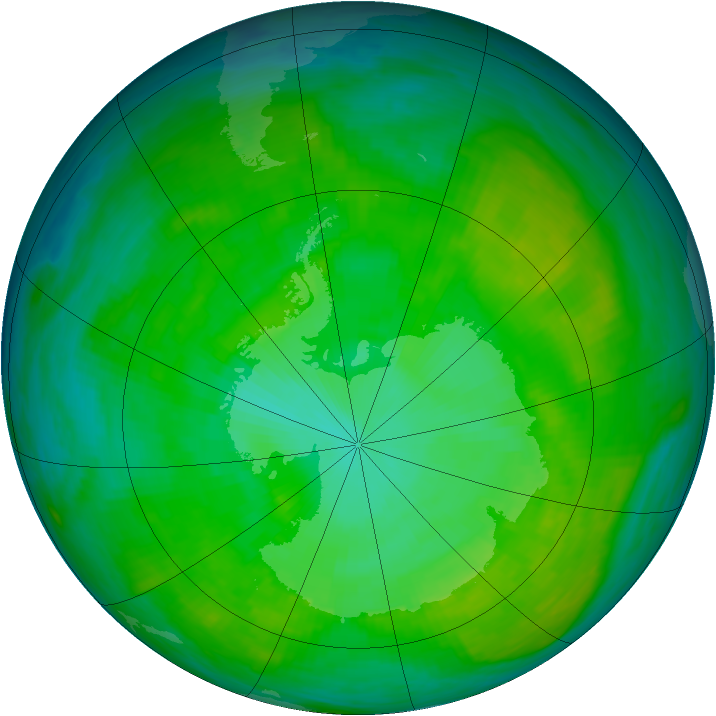 Antarctic ozone map for 30 December 1983