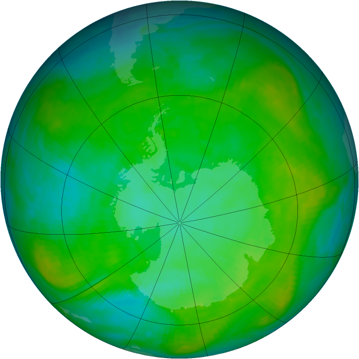 Antarctic ozone map for 02 January 1984