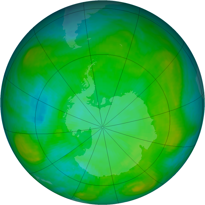 Antarctic ozone map for 03 January 1984