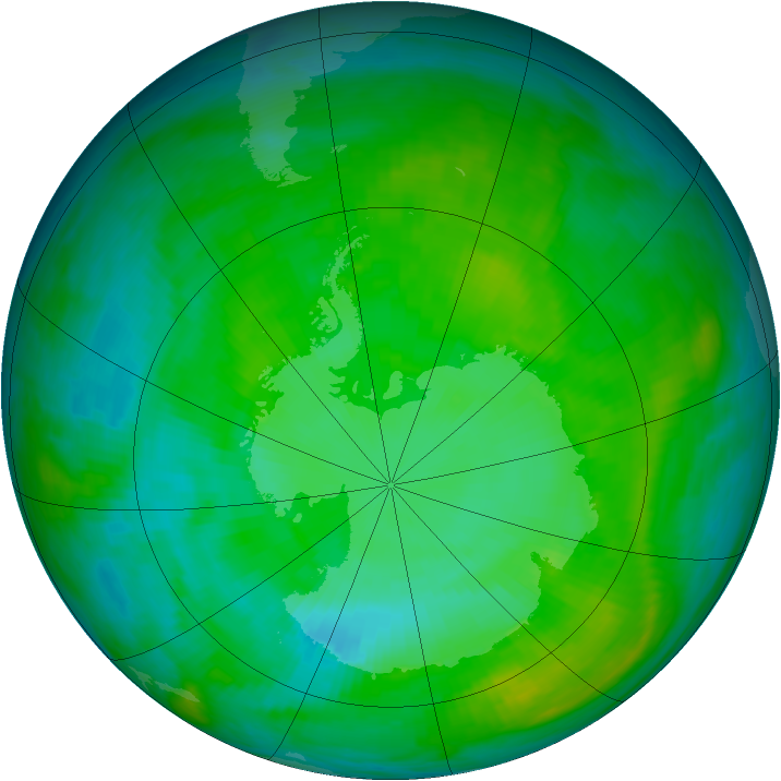 Antarctic ozone map for 11 January 1984