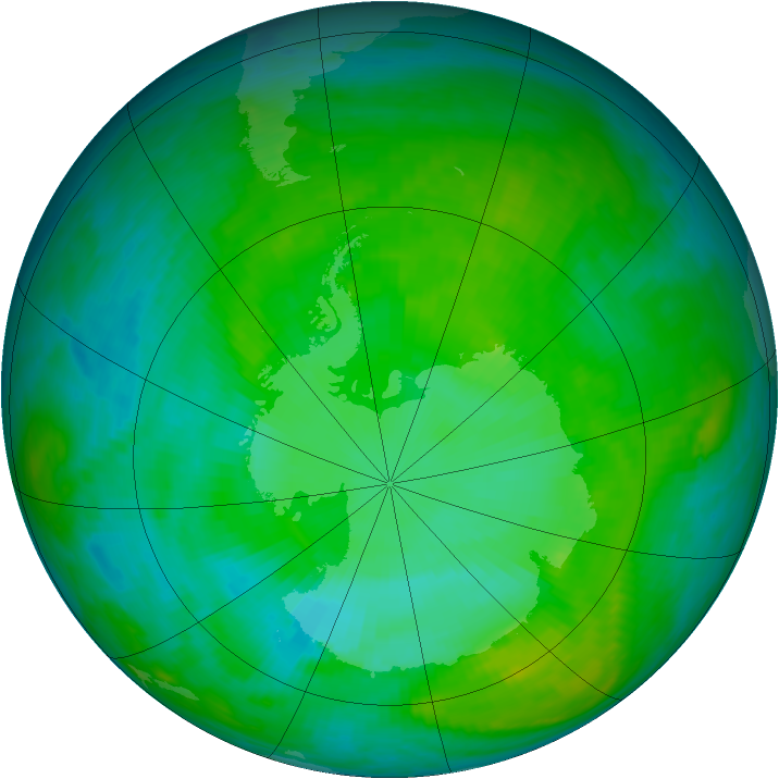 Antarctic ozone map for 12 January 1984