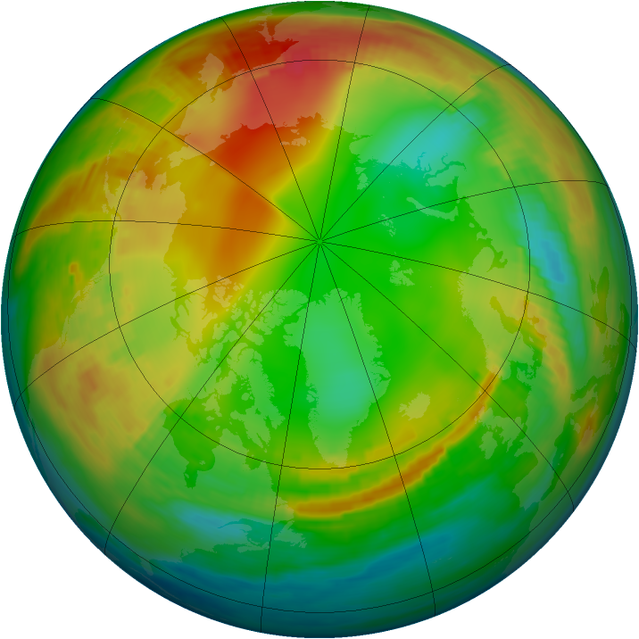 Arctic ozone map for 13 January 1984
