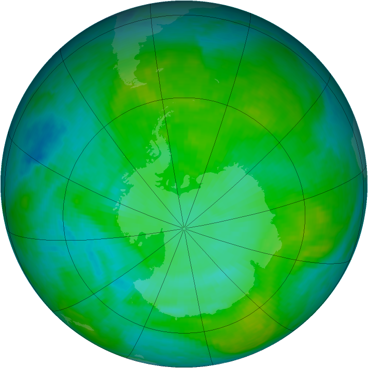 Antarctic ozone map for 13 January 1984