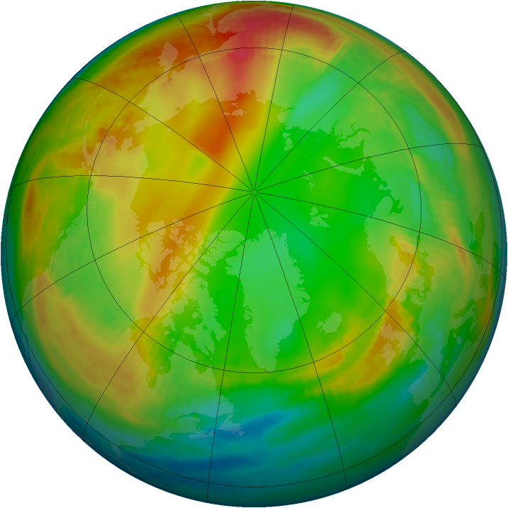 Arctic ozone map for 14 January 1984