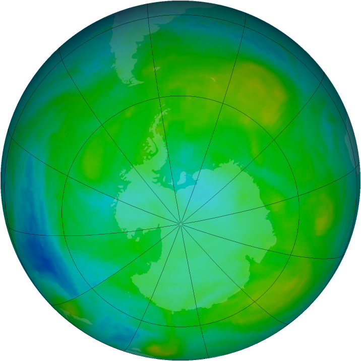 Antarctic ozone map for 16 January 1984