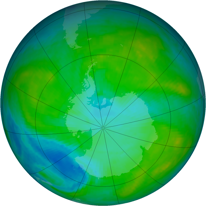 Antarctic ozone map for 18 January 1984