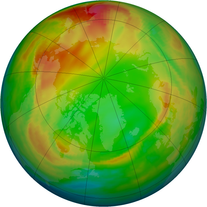 Arctic ozone map for 19 January 1984
